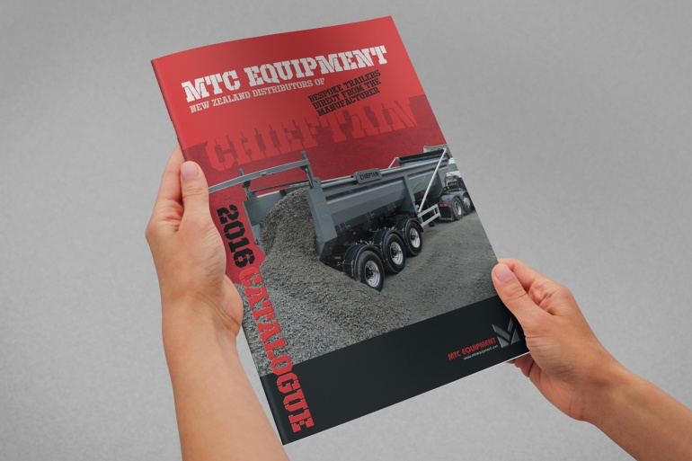 MTC equipment 2016 A4 brochure cover, hand held mock up, photorealistic visual