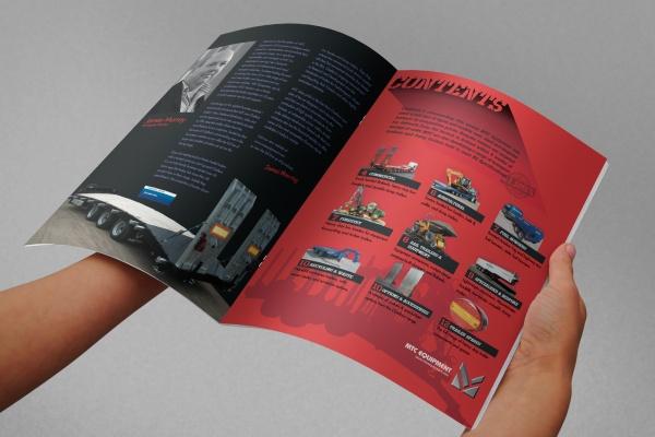 MTC equipment 2016 A4 brochure inside spread, hand held mock up, photorealistic visual