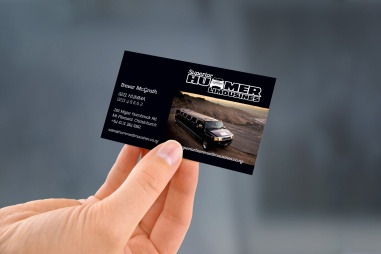 Front of Superior Hummer Limo's business card, Branding, logo design, full colour design, printed front and back of card, Brand and identity systems design, Typography, Print production, digital print, Christchurch, New Zealand.