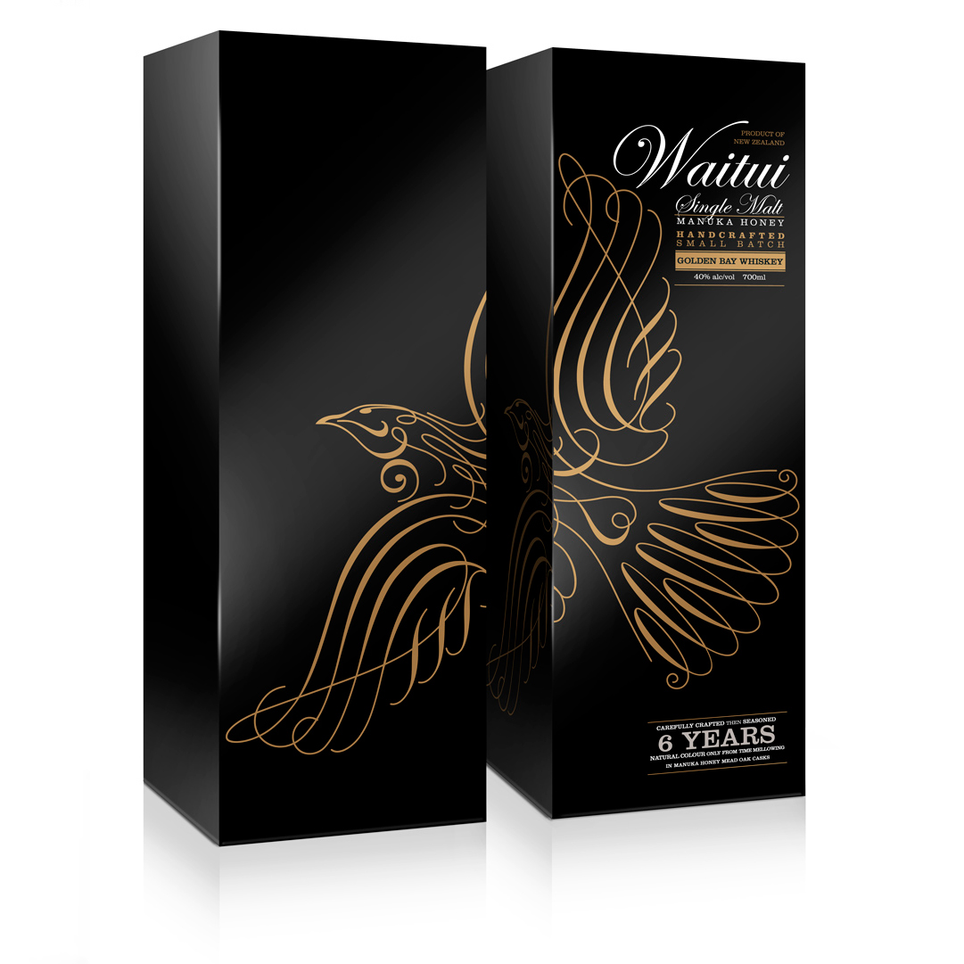 Waitui gift carton showing the duplex concept of the design. Designing the packaging in two parts delivers the particularly valuable benefit in the competitive environment of the retailer's display shelves of effectively doubling the size and doubling the impact of the Waitui packaging next to its competitors.