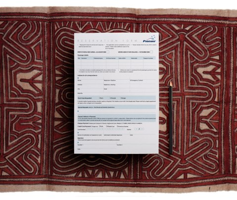 "Hidden Gems ""Spirit of Papua New Guinea"" Pionair escorted tour, reservation form overhead view"