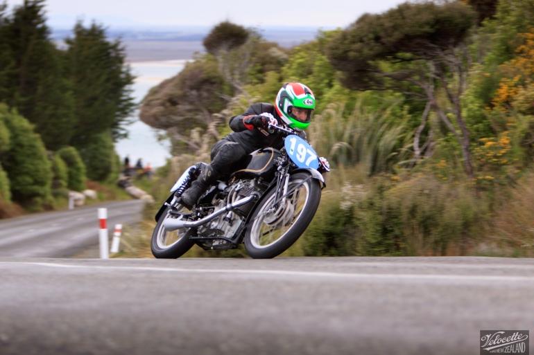 Bluff HIll Climb, Burt Munro Challenge, Flagstaff Road, Velocette KTT 350, Velocette KTT MK VIII, Motupohue, New Zealand, NZ Hill Climb Champs, Phil Price, Rider 197