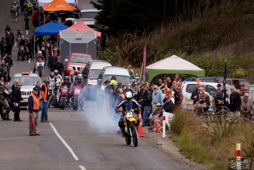 Bluff Hill, Bluff HIll Climb, Burt Munro Challenge, Classic Pre '82, Motupohue, New Zealand, NZ Hill Climb Champs, Randal Scott, Rider 82z, start finish line, Suzuki RM 250