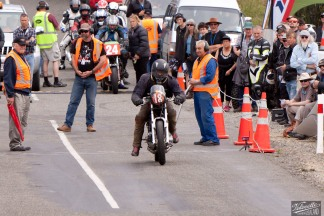 Bluff HIll Climb, Burt Munro Challenge, Kevin Ryan, Motupohue, New Zealand, NZ Hill Climb Champs, Rider 18, start finish line, Triumph Bonneville 800