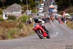 Ben McConochie, Bluff Hill, Bluff HIll Climb, Burt Munro Challenge, Corner 1, Motupohue, New Zealand, NZ Hill Climb Champs, Open Class, Rider 77, Triumph Daytona 675
