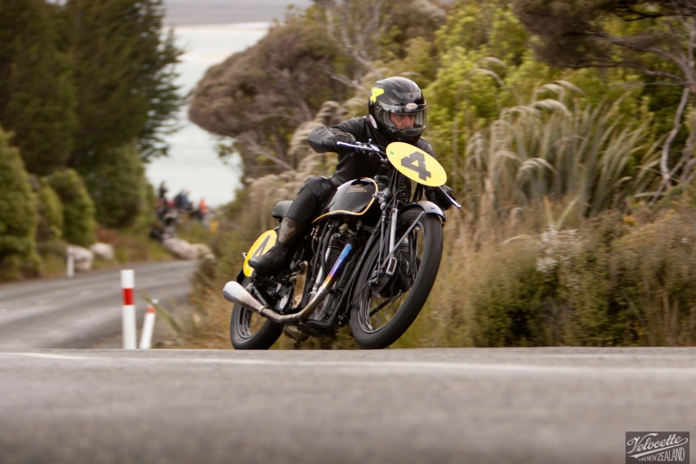Big Velo 500, Bill Biber, Bluff HIll Climb, Burt Munro Challenge, Flagstaff Road, Motupohue, New Zealand, NZ Hill Climb Champs, Rider 4, Velocette Big Velo 500