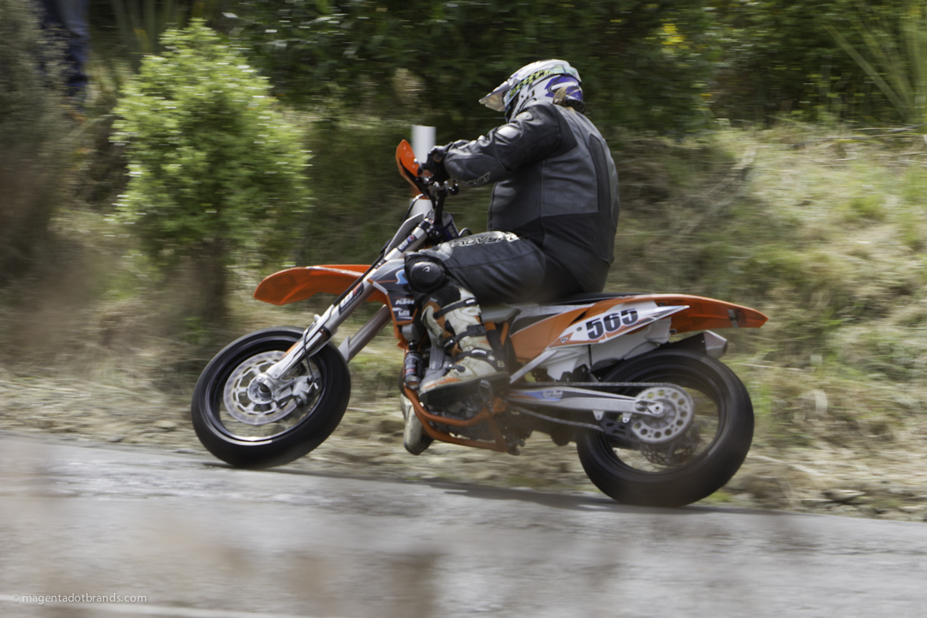 Bluff Hill, Bluff HIll Climb, Burt Munro Challenge, KTM EXC 500, Motupohue, New Zealand, NZ Hill Climb Champs, Rider 565, Royden West, Up to 600cc, 10 year Anniversary event, Thursday 26 November 2016