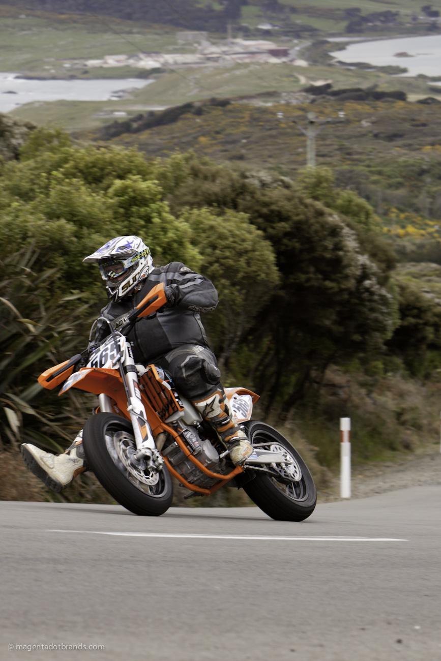 Bluff Hill, Bluff HIll Climb, Burt Munro Challenge, KTM EXC 500, Motupohue, New Zealand, NZ Hill Climb Champs, Rider 565, Royden West, Up to 600cc, 10 year Anniversary event, Thursday 26 November 2016