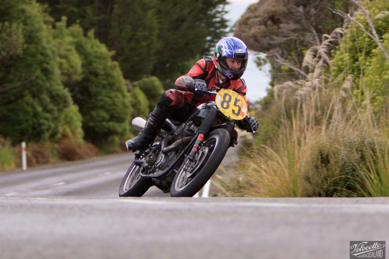 Bluff Hill, Bluff HIll Climb, BSA Goldstar 500, Burt Munro Challenge, Flagstaff Road, Graham Peters, Motupohue, New Zealand, NZ Hill Climb Champs, Rider 85