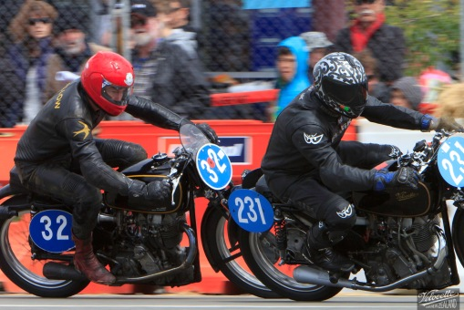 Chris Swallow and Cloud Craig-Smith aboard the KTT Velocettes. Invercargill Street Races.