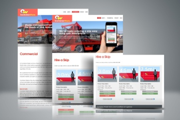 Web design, website writing, site build and a custom e-commerce skip hire web-app