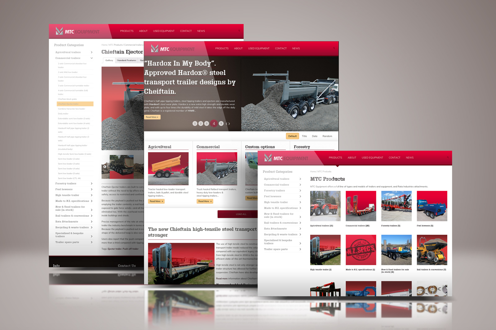 Showcase of MTC Equipment online catalogue website. The three pages portrayed are the homepage, a catalogue overview page and the Ejector Trailer catalogue item page. The three key elements to the responsive online catalogue's ease of use.
