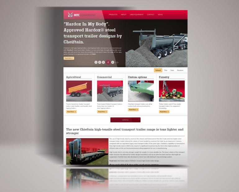 MTC Equipment website homepage mock up