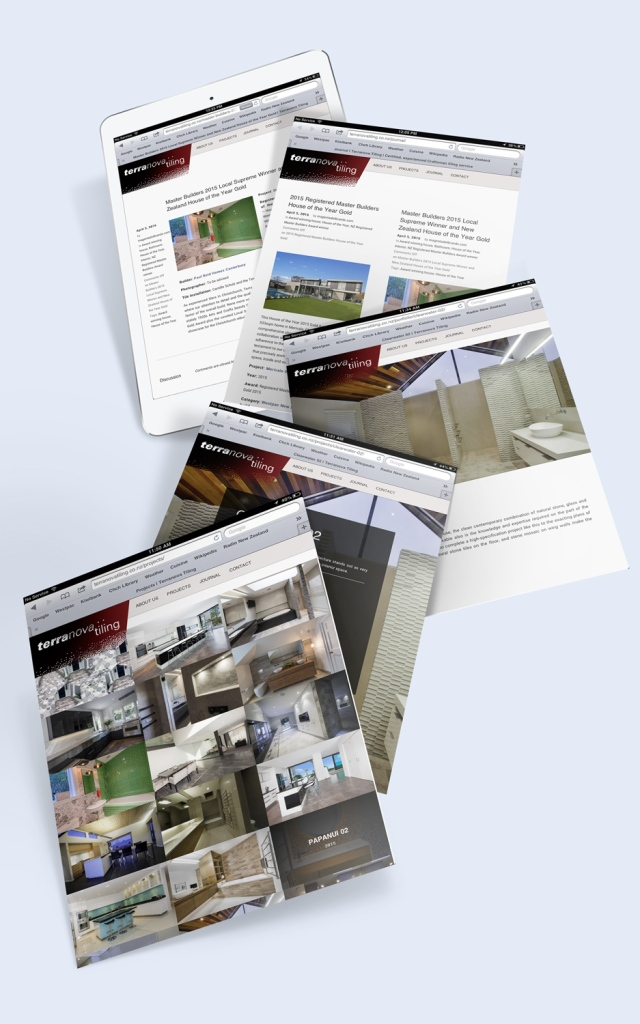 Terranova tiling website iPad mockup of a cascade of 5 pages with the Projects page at the top of the stack.
