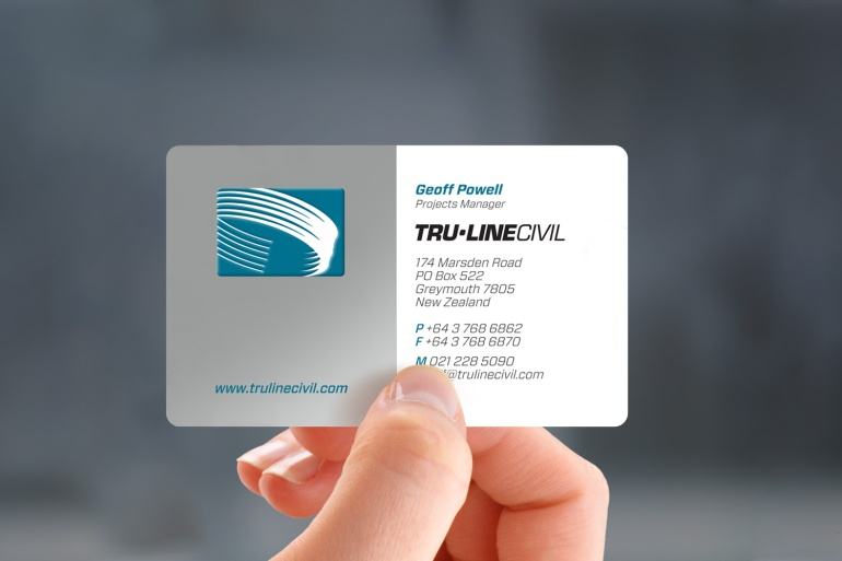 The Tru-Line Civil business card is dressed to impress. Printed 3 colours including one metallic ink. Civil engineering is the sort of work where you are out in the field getting your hands dirty so the matt laminate, and radiused corners ensures they are robust and presentable on the job. The well crafted embossed logo is a theme repeated in the stationery system. It is craftsmanship that says quality.