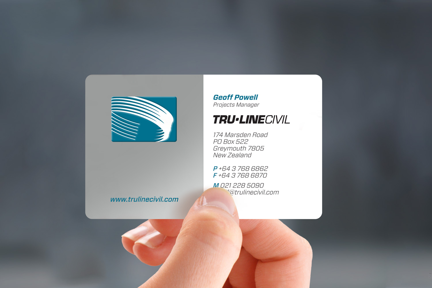 the truline civil business card is dressed to impress printed 3 colours including