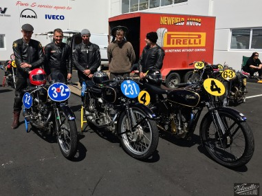 Velocette motorcycle pit culture at the Invercargill Street races