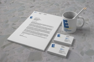 Events Management Group stationery and promotional items.