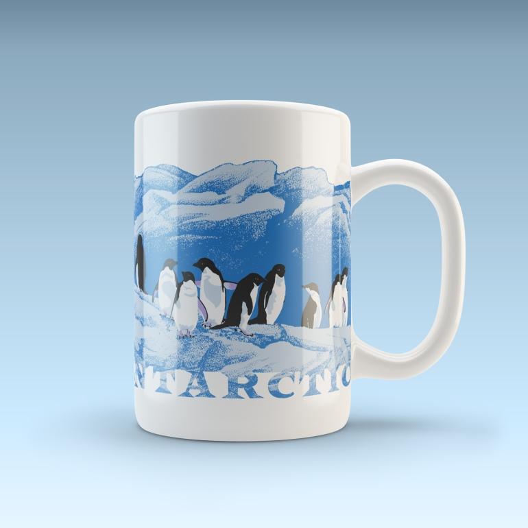 Adelies on ice - Antarctica wildlife art design coffee mug