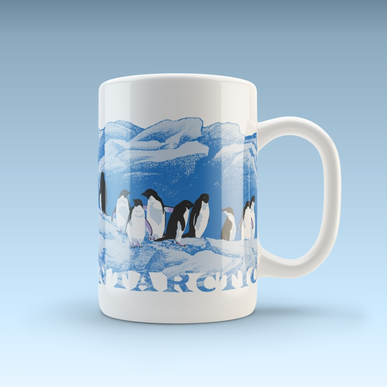 Adelies on ice - Antarctica wildlife art design coffee mug