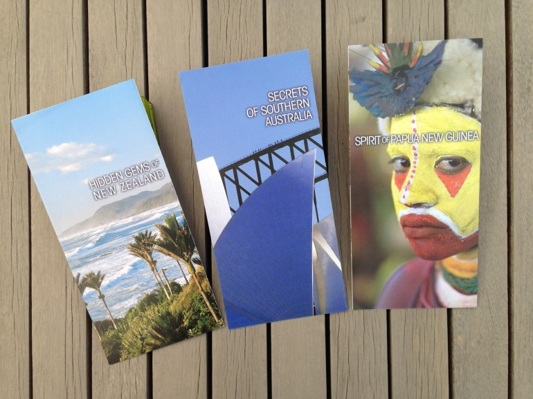 Hidden Gems set of 3 escorted tour direct mail brochures, 2009 direct mail campaign to Pionair's past traveller database and affluent travel agents in the U.S. and the rest of the world, this set of brochures comprises; Hidden Gems of New Zealand, Secrets of Southern Australia and Spirit of Papua New Guinea