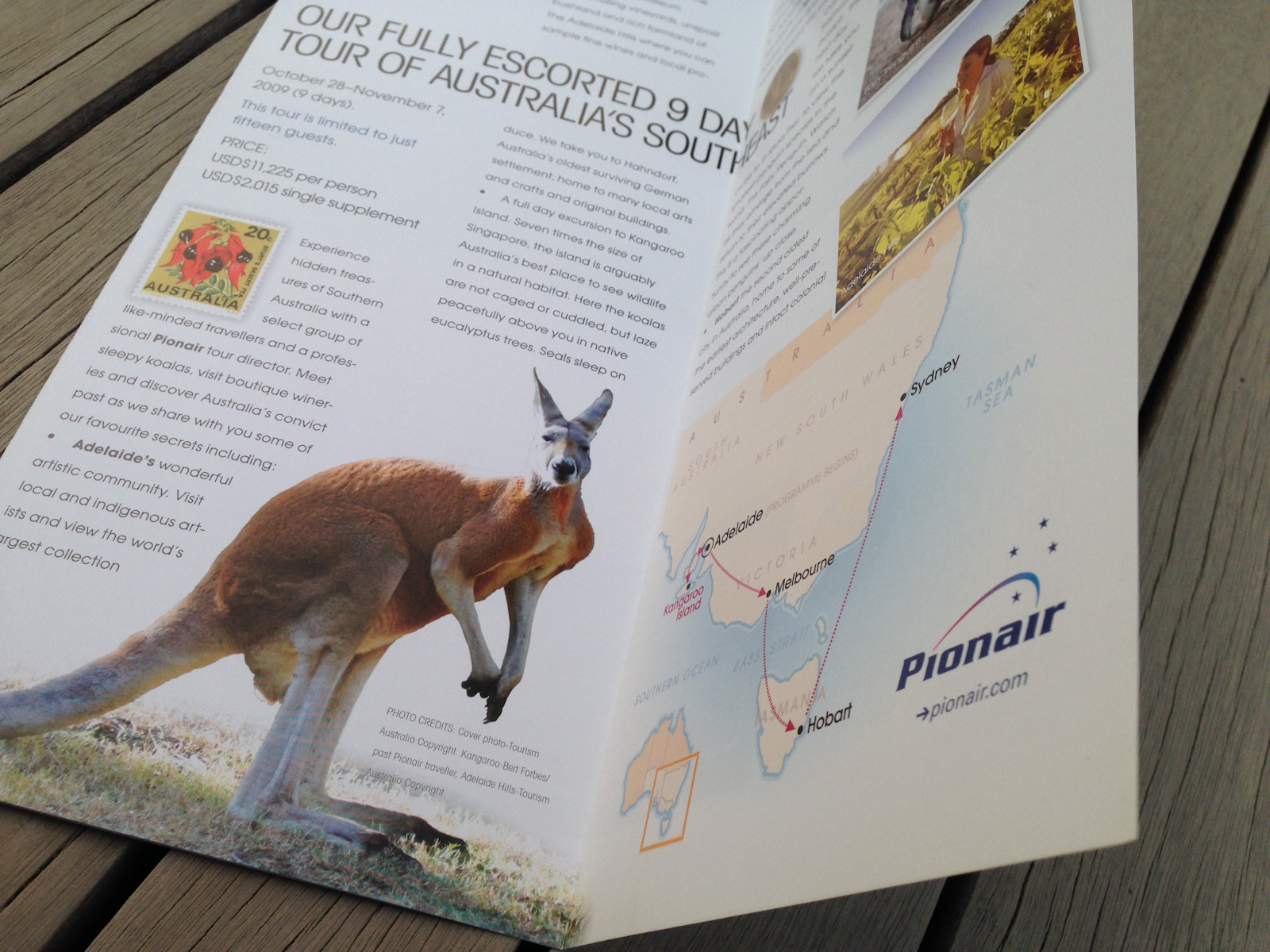 Secrets of Southern Australia, one of a set of 3 escorted tour direct mail brochures designed for the 2009 direct mail campaign to Pionair's past traveller database and affluent travel agents in the U.S. and the rest of the world