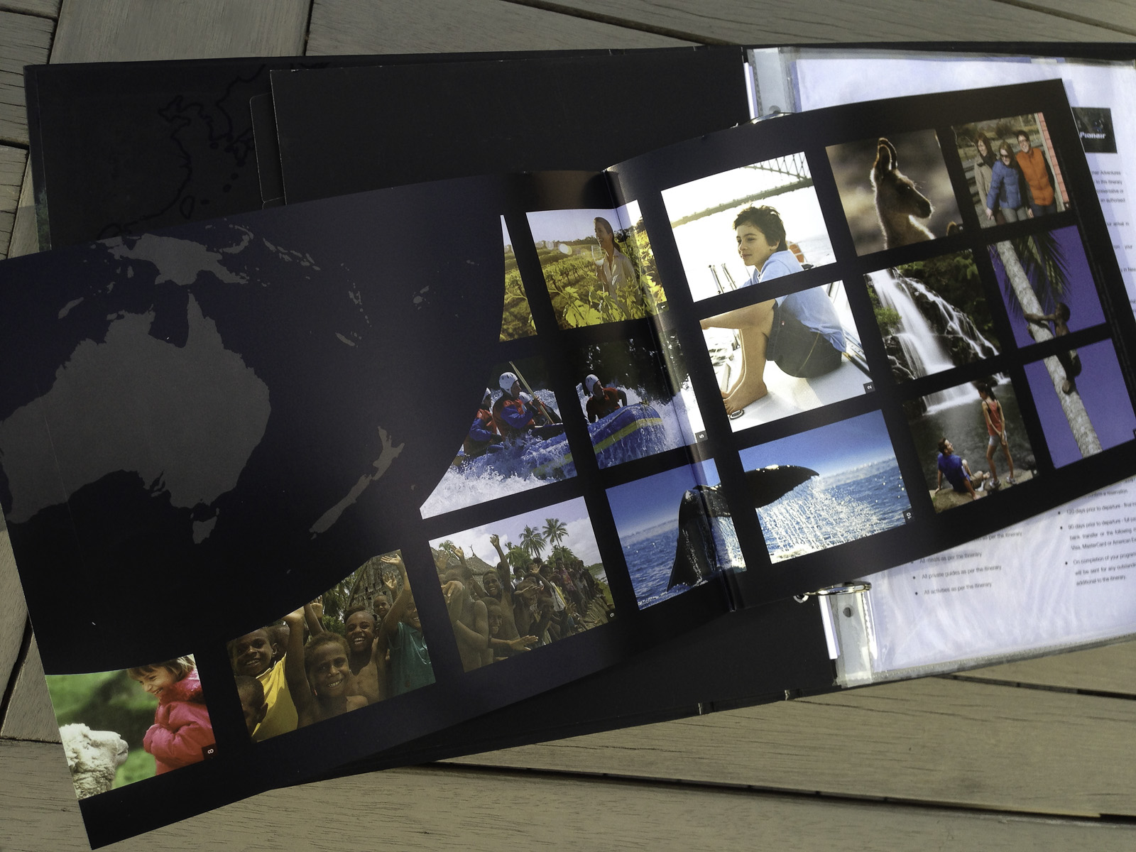 Pionair Unparalleled Journeys travel brochure, booklet format inside front cover spread, regional map and image grid.