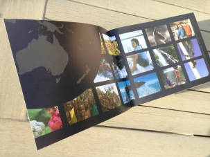 Pionair Unparalleled Journeys travel brochure, booklet format. Inside front cover image montage grid.