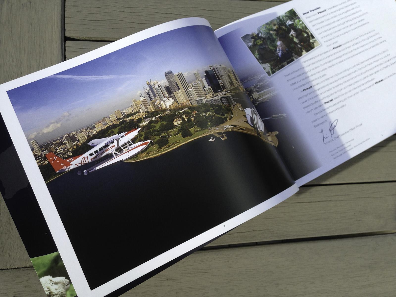 Pionair Unparalleled Journeys travel brochure, booklet format. Dear Pionair traveller letter spread.