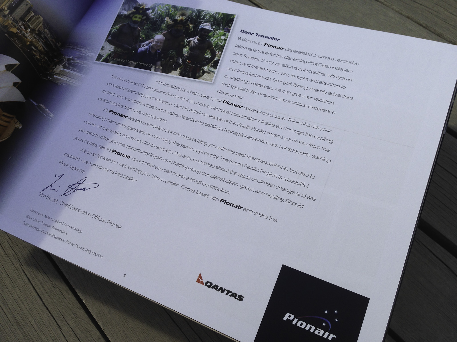 Pionair Unparalleled Journeys travel brochure, booklet format. Dear Pionair traveller letter.