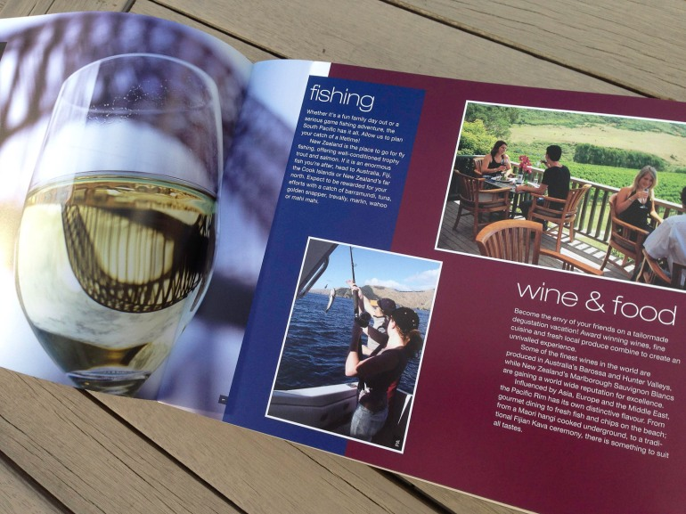 Pionair Unparalleled Journeys travel brochure, booklet format. Fishing, wine and food spread.