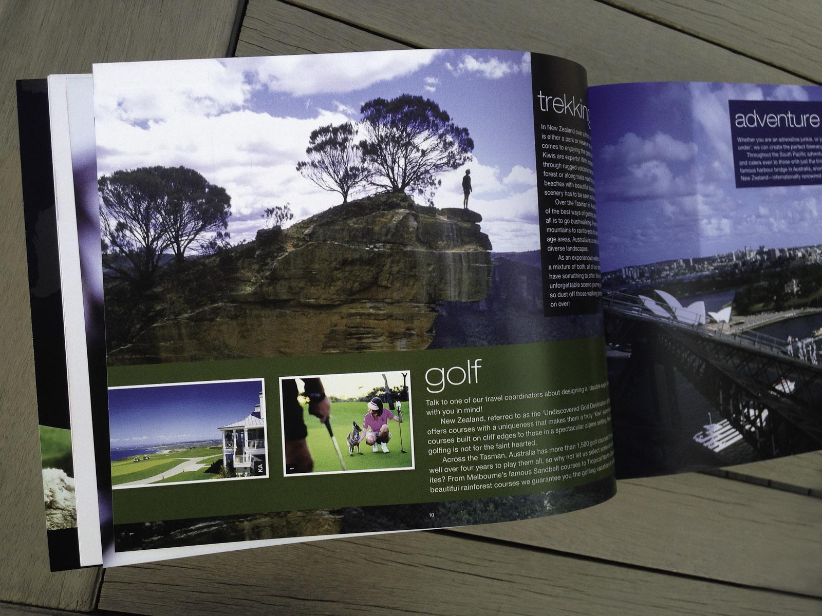 Pionair Unparalleled Journeys travel brochure, booklet format. Holiday experiences spread, golf, trekking, adventures.