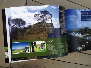 Pionair Unparalleled Journeys travel brochure, booklet format. Holiday experiences spread, golf, trekking, adventures.