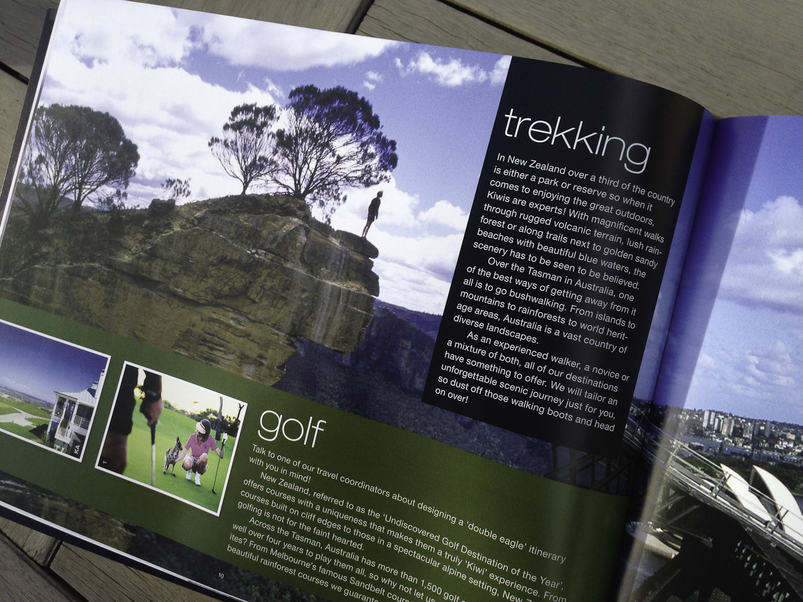 Pionair Unparalleled Journeys travel brochure, booklet format. Trekking, golf page.