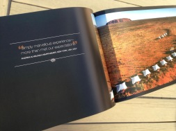 Pionair Unparalleled Journeys travel brochure, booklet format. Ayers Rock/Uluru spread. Simply marvellous experience—more than met our expectations.