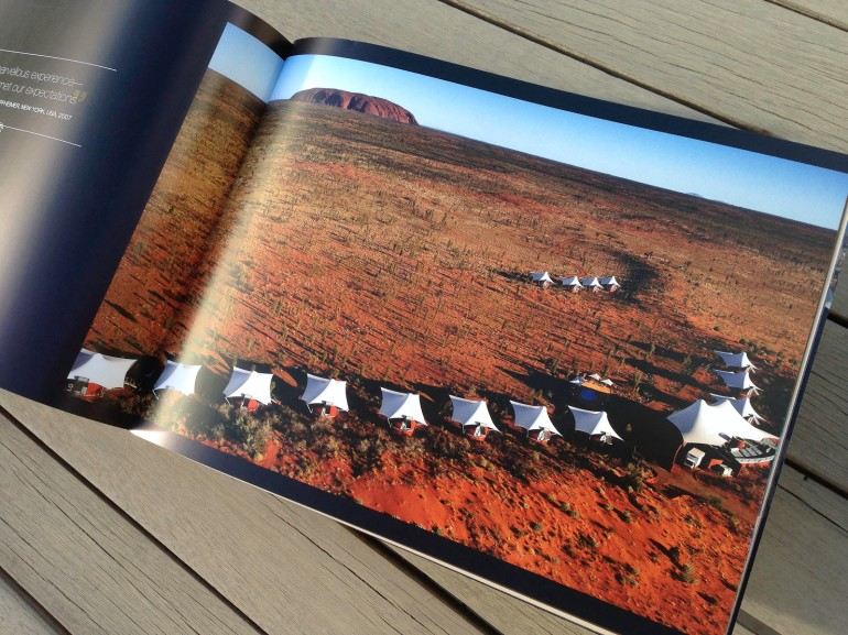 Pionair Unparalleled Journeys travel brochure, booklet format. Ayers Rock/Uluru accommodation spread.