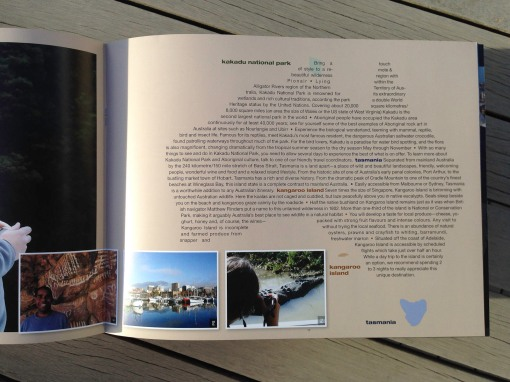 Pionair Unparalleled Journeys travel brochure, booklet format. Australia page.