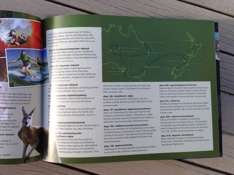 Pionair Unparalleled Journeys travel brochure, booklet format. Australia and New Zealand page with map.