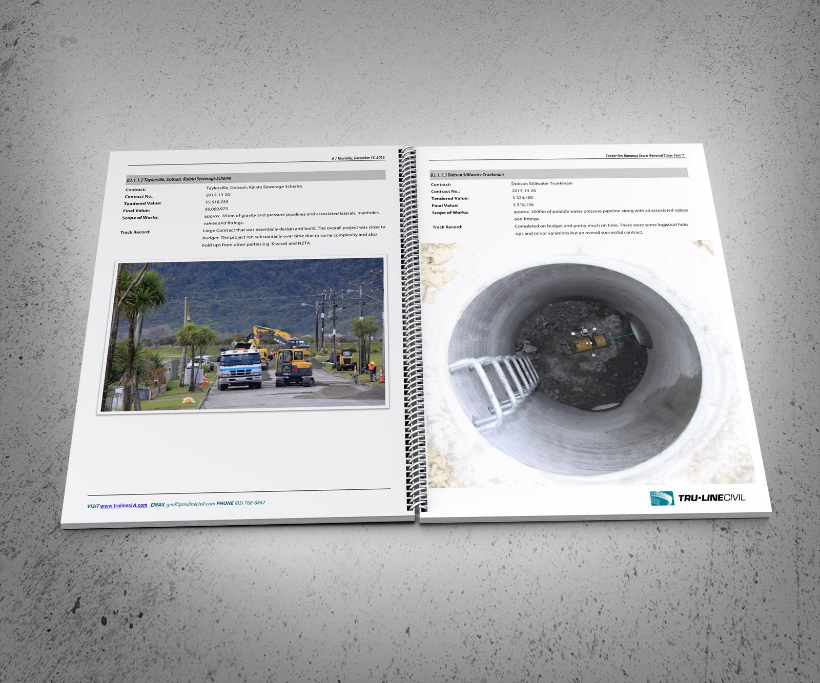Typical track record spread. TruLine Civil Tender bid document