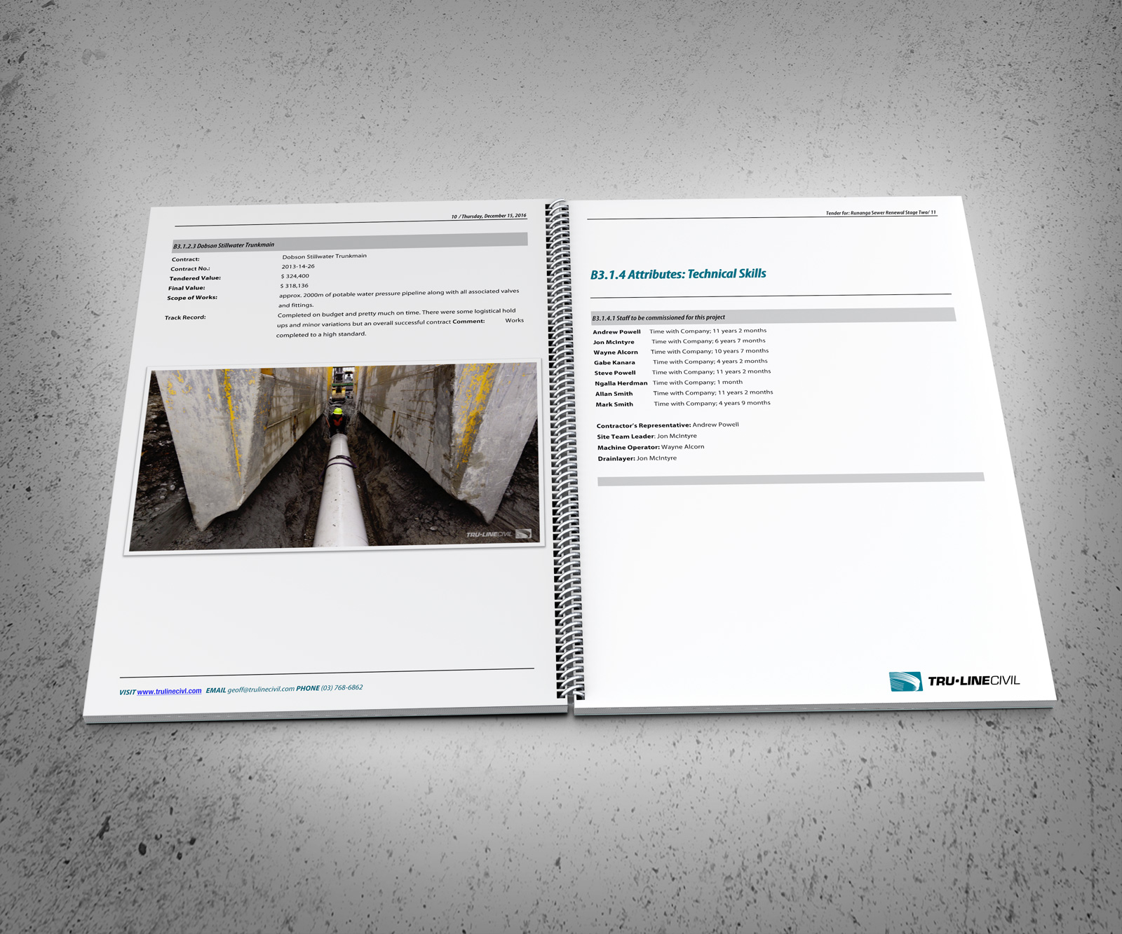 Attributes, Technical skill spread. TruLine Civil Tender bid document