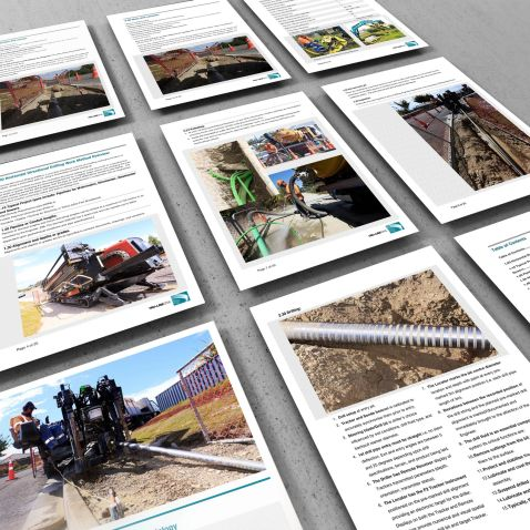 TruLine Capabilities Profile document, Horizontal Directional Drilling Methodology 9 page montage.