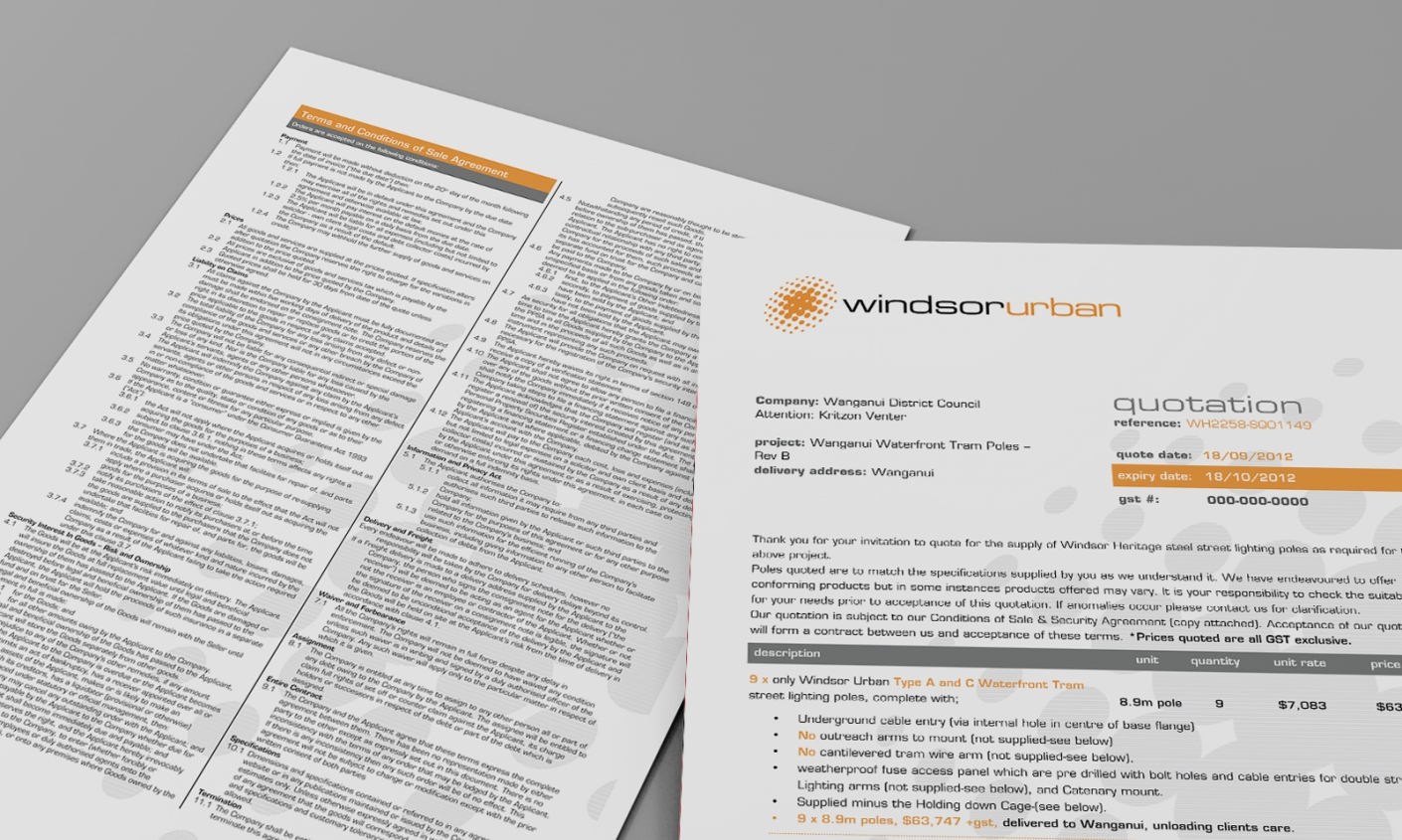 WindsorUrban custom Microsoft Word quote template document.
