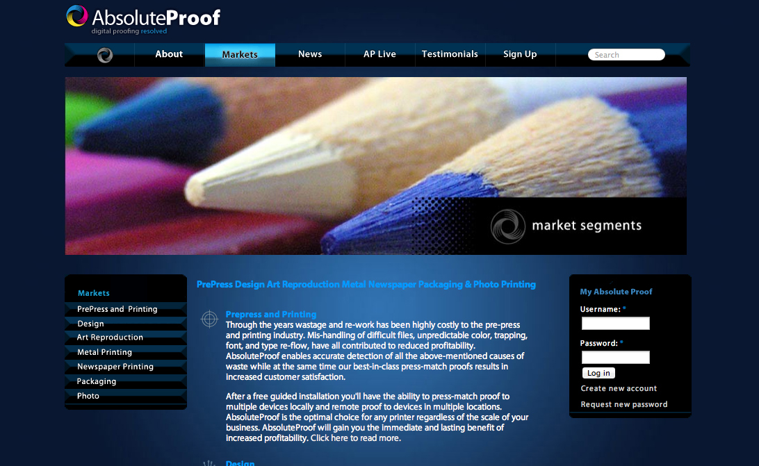 AbsoluteProof website, Markets page header detail.