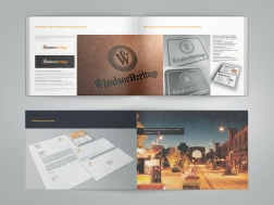 Cover spread and centre spread WindsorUrban logo design presentation document.