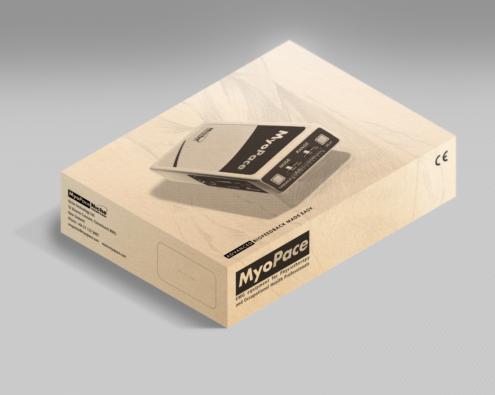 MyoPace outer-shipping carton. Printed one colour, black, onto corrugated Kraft board.