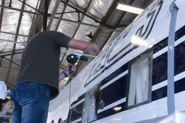 Southern DC3 ZK-AMY livery application, in the Hangar at Wigram