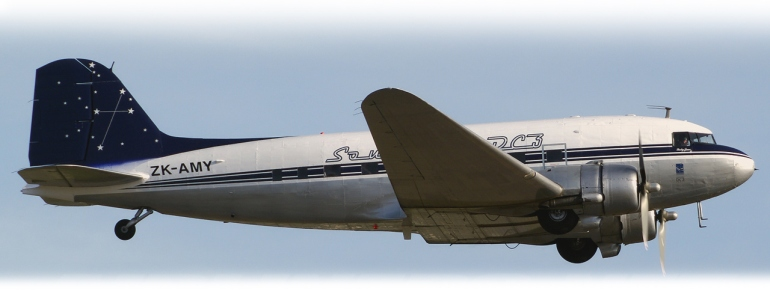 Southern DC3 ZK-AMY airborne image wheels down just after takeoff