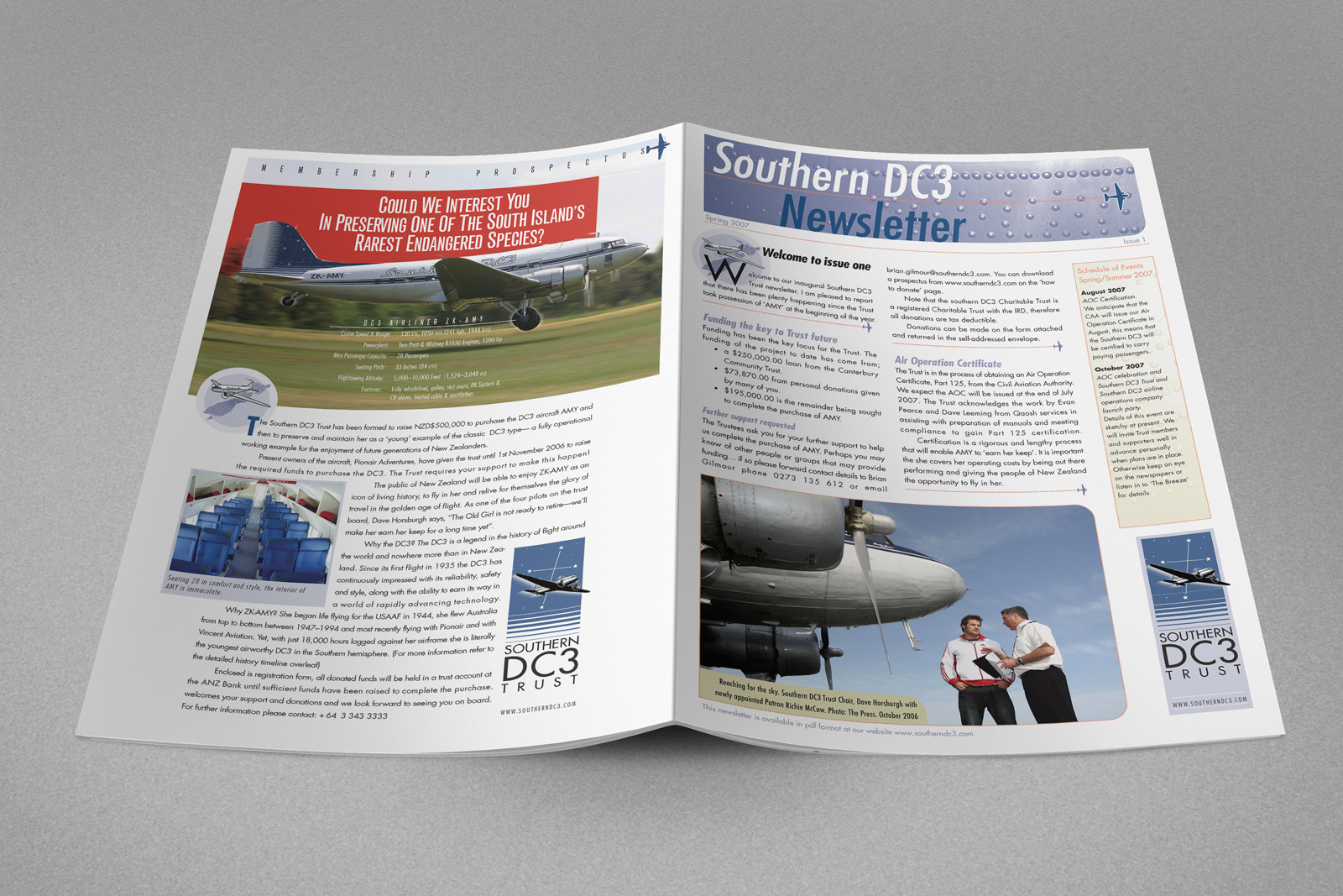 Southern DC3 Newsletter, Spring 2007, cover spread.