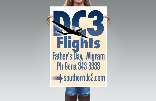 Large format, A2 street sign poster for the Southern DC3 Champagne Flights on Father's Day