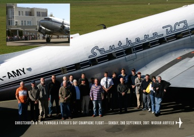 Group photo. Southern DC3 Christchurch & the Peninsula Father's Day Champagne Flight.